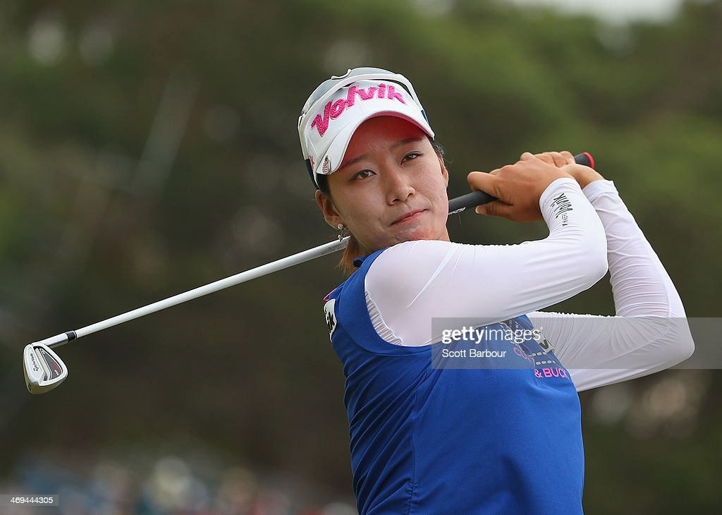 Chella Choi of South Korea practices on the driving range after completing her round during day three of the ISPS Handa Women's Australian Open at The Victoria Golf Club on February 15, 2014 in Melbourne, Australia.