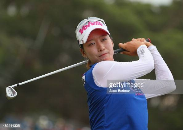 Chella Choi of South Korea practices on the driving range after completing her round during day three of the ISPS Handa Women's Australian Open at...
