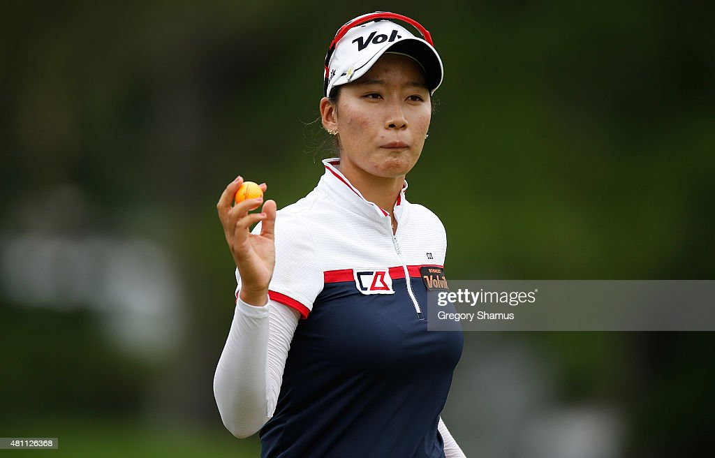 Chella Choi of South Korea reacts after a birdie on the 18th green during the second round of the Marathon Classic presented by Owens Corning and O-I at Highland Meadows Golf Club on July 17, 2015 in Sylvania, Ohio.