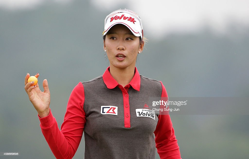 Chella Choi of South Korea reacts after a putt on the 18th hole during the final round of the Mizuno Classic at Kintetsu Kashikojima Country Club on...