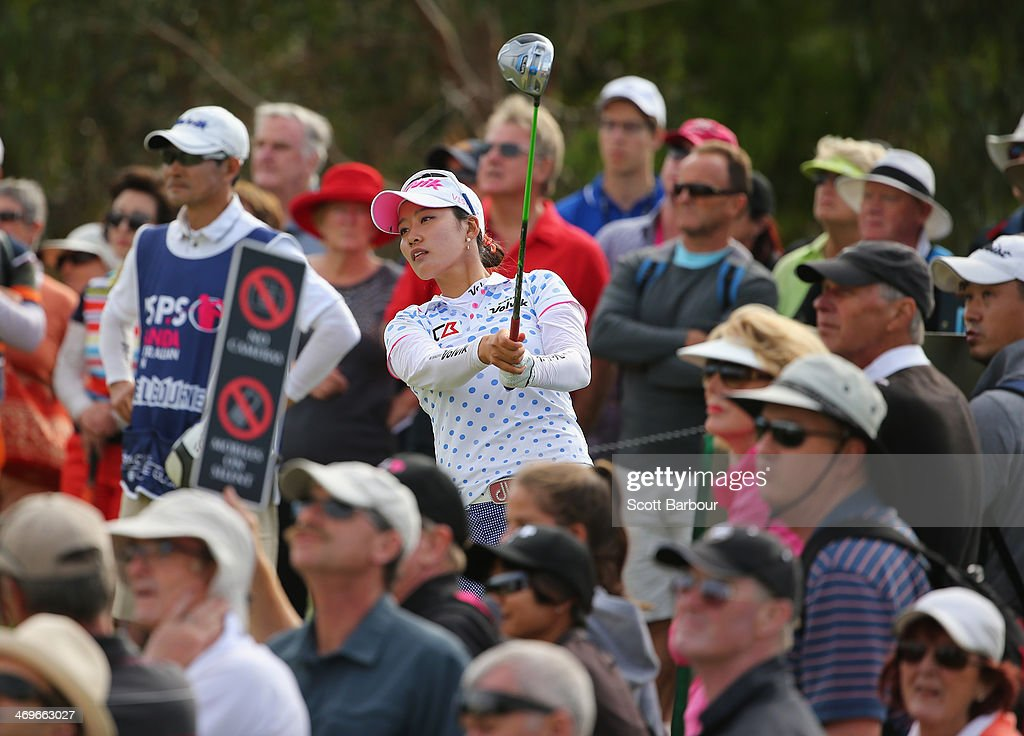 <a gi-track='captionPersonalityLinkClicked' href=/galleries/search?phrase=Chella+Choi&family=editorial&specificpeople=5770500 ng-click='$event.stopPropagation()'>Chella Choi</a> of South Korea tees off during the fourth round of the ISPS Handa Women's Australian Open at The Victoria Golf Club on February 16, 2014 in Melbourne, Australia.