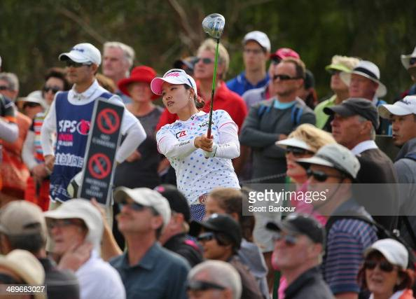 Chella Choi of South Korea tees off during the fourth round of the ISPS Handa Women's Australian Open at The Victoria Golf Club on February 16 2014...