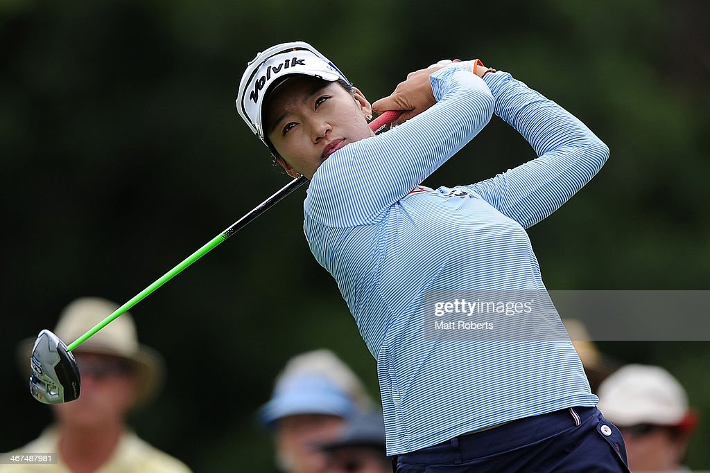 Chella Choi of South Korea tees off on the 6th hole during day two of the 2014 Ladies Masters at Royal Pines Resort on February 7 2014 on the Gold...