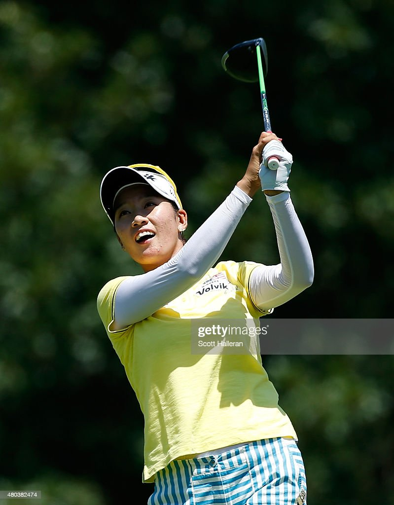 Chella Choi of South Korea watches her tee shot on the 14th hole during the third round of the US Women's Open at Lancaster Country Club on July 11...