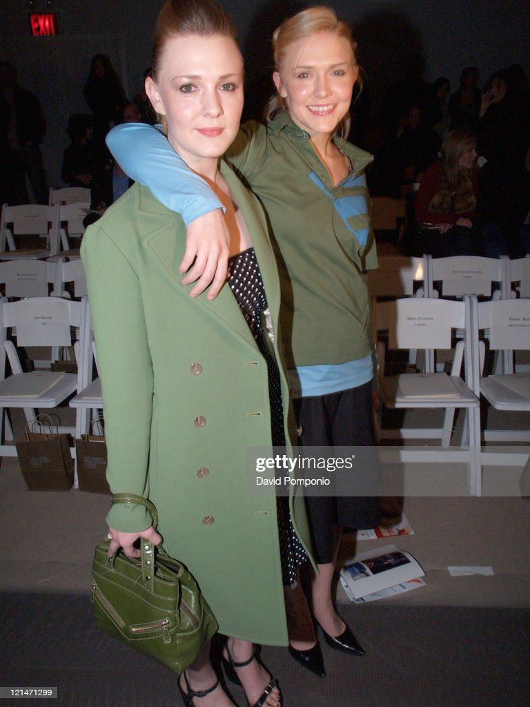 Chelse Swain and Dominique Swain during Olympus Fashion Week Fall 2005 - Joseph Abboud - Front Row and Backstage at Bryant Park in New York City, New York, United States.
