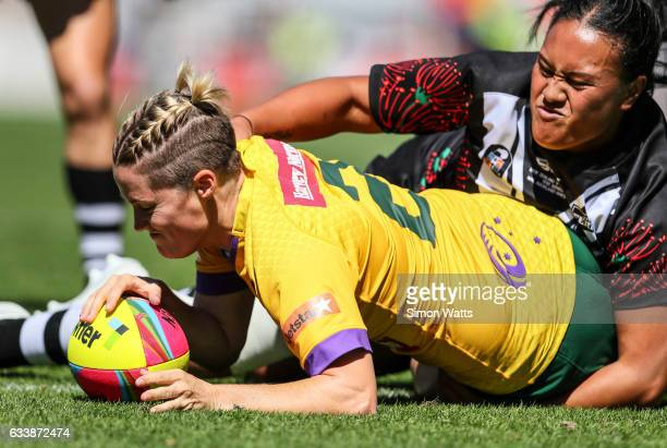 Chelsea Baker of the Jillaroos scores a try during the 2017 Auckland Nines match between the Australian Jillaroos and the Kiwi Ferns at Eden Park on...
