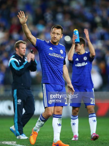 Chelsea captain John Terry acknowledges fans after the international friendly match between Sydney FC and Chelsea FC at ANZ Stadium on June 2 2015 in...