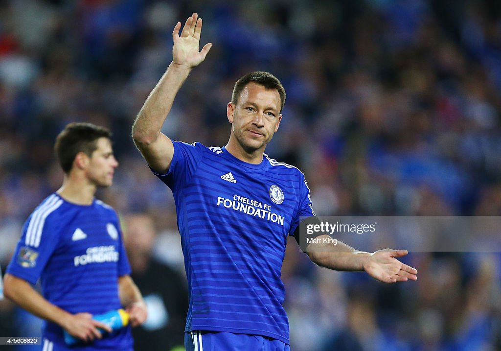 Chelsea captain <a gi-track='captionPersonalityLinkClicked' href=/galleries/search?phrase=John+Terry&family=editorial&specificpeople=171535 ng-click='$event.stopPropagation()'>John Terry</a> acknowledges fans after the international friendly match between Sydney FC and Chelsea FC at ANZ Stadium on June 2, 2015 in Sydney, Australia.