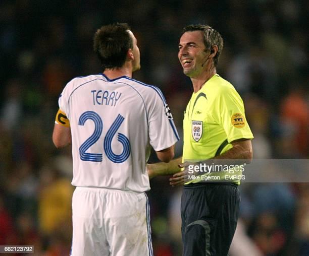 Chelsea captain John Terry shares a joke with referee Stefano Farina