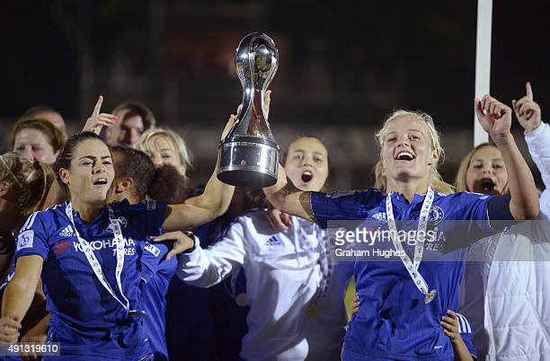 Chelsea captain Katie Chapman and Claire Rafferty with the FA WSL trophy after the FA WSL match between Chelsea Ladies FC and Sunderland AFC Ladies...