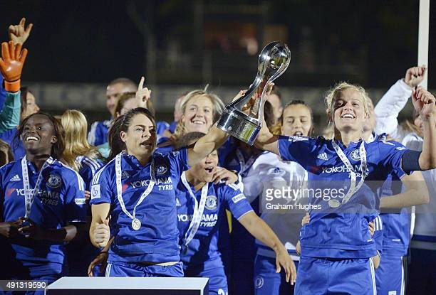 Chelsea captain Katie Chapman Claire Rafferty and team mates with the FA WSL trophy after the FA WSL match between Chelsea Ladies FC and Sunderland...