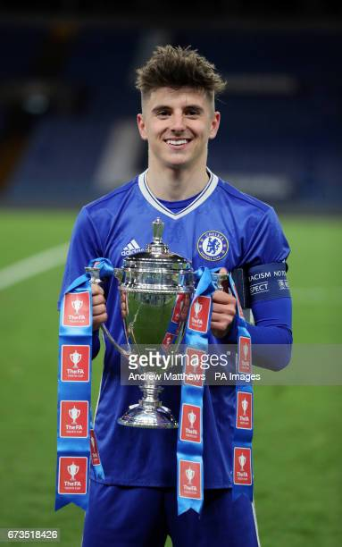 Chelsea captain Mason Mount with the trophy after winning the FA Youth Cup Final Second Leg match at Stamford Bridge London
