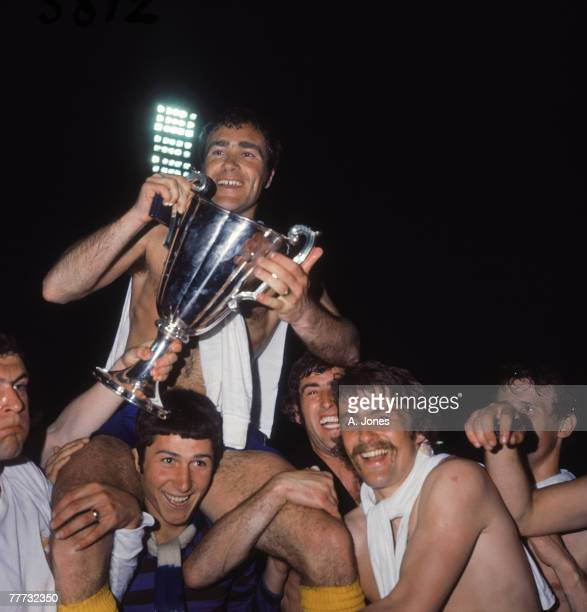 Chelsea captain Ron 'Chopper' Harris is carried on the shoulders of goalkeeper Tommy Hughes after his team's 21 win against Real Madrid in the 197071...