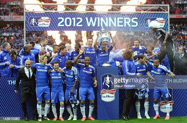 Chelsea celebrate with the FA Cup Trophy during the FA Cup with Budweiser Final match between Liverpool and Chelsea at Wembley Stadium on May 5 2012...