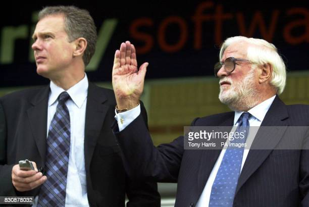 Chelsea chairman Ken Bates with his new chief executive Trevor Birch during a friendly match with Wycombe Wanderers Adams Park High Wycombe 16/07/04...