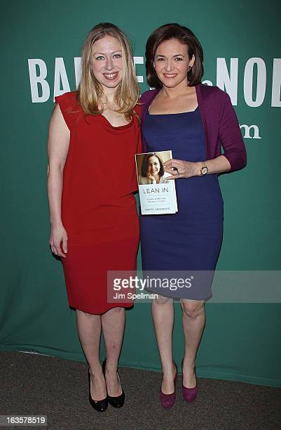 Chelsea Clinton and Chief Operating Officer of Facebook Sheryl Sandberg attend Lean In Women Work and the Will to Lead with Sheryl Sandberg and...