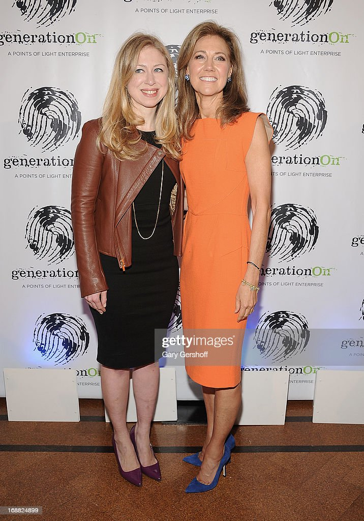Chelsea Clinton and event cochair and cofounder of generationOn Silda Wall Spitzer attend the 2013 GenerationOn Benefit at 583 Park Avenue on May 15...