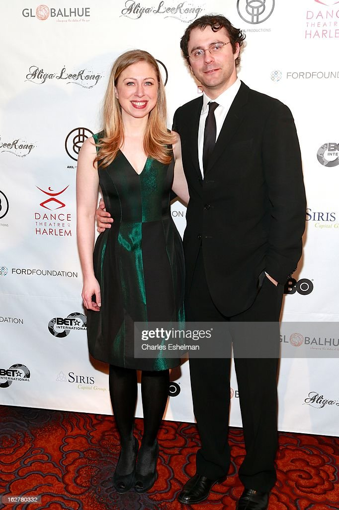 Chelsea Clinton and husband Marc Mezvinsky arrive at the Dance Theatre Of Harlem 44th Anniversary Celebration at the Mandarin Oriental Hotel on February 26, 2013 in New York City.