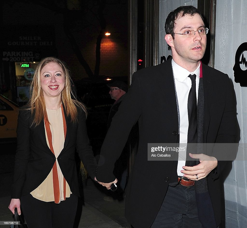 <a gi-track='captionPersonalityLinkClicked' href=/galleries/search?phrase=Chelsea+Clinton&family=editorial&specificpeople=119698 ng-click='$event.stopPropagation()'>Chelsea Clinton</a> and <a gi-track='captionPersonalityLinkClicked' href=/galleries/search?phrase=Marc+Mezvinsky&family=editorial&specificpeople=6696156 ng-click='$event.stopPropagation()'>Marc Mezvinsky</a> are seen in Midtown on March 14, 2013 in New York City.