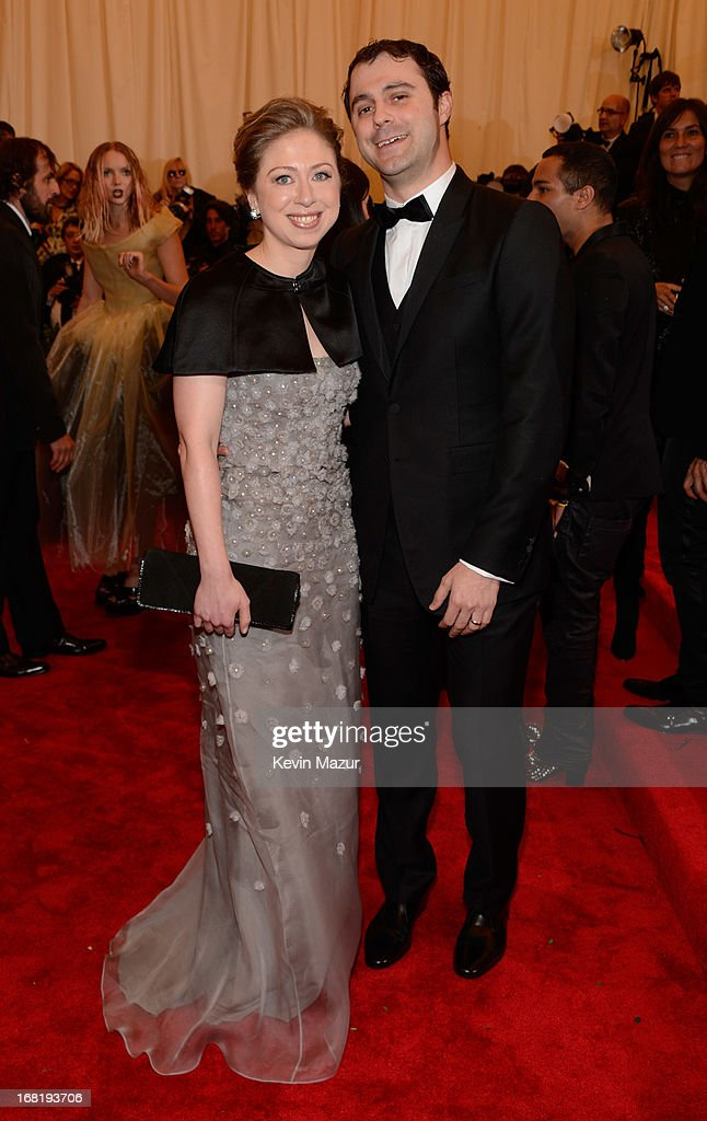 Chelsea Clinton and Marc Mezvinsky attend the Costume Institute Gala for the 'PUNK: Chaos to Couture' exhibition at the Metropolitan Museum of Art on May 6, 2013 in New York City.
