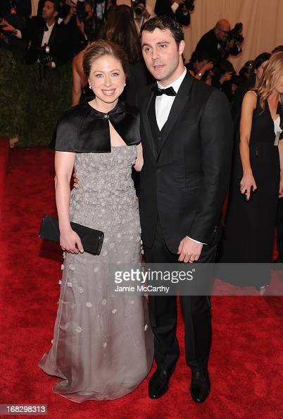 Chelsea Clinton and Marc Mezvinsky attend the Costume Institute Gala for the 'PUNK Chaos to Couture' exhibition at the Metropolitan Museum of Art on...