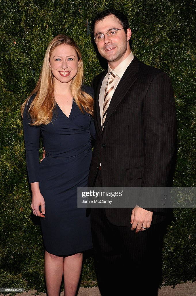 <a gi-track='captionPersonalityLinkClicked' href=/galleries/search?phrase=Chelsea+Clinton&family=editorial&specificpeople=119698 ng-click='$event.stopPropagation()'>Chelsea Clinton</a> and <a gi-track='captionPersonalityLinkClicked' href=/galleries/search?phrase=Marc+Mezvinsky&family=editorial&specificpeople=6696156 ng-click='$event.stopPropagation()'>Marc Mezvinsky</a> attend The Ninth Annual CFDA/Vogue Fashion Fund Awards at 548 West 22nd Street on November 13, 2012 in New York City.