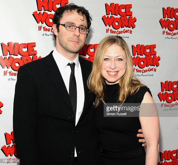 Chelsea Clinton and Mark Mezvinsky attend the 'Nice Work If You Can Get It' Broadway opening night at the Imperial Theatre on April 24 2012 in New...