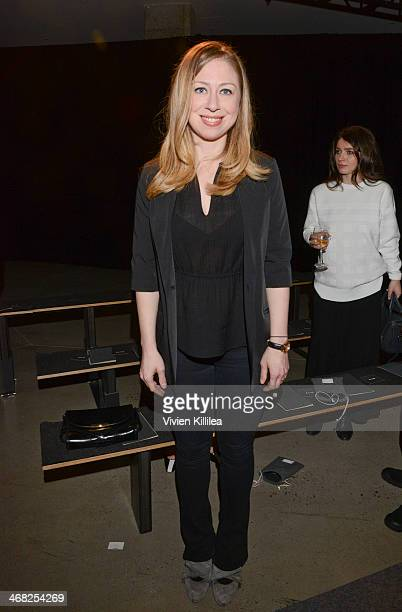 Chelsea Clinton attends Edun MercedesBenz Fashion Week Fall 2014 at Skylight Modern on February 9 2014 in New York City