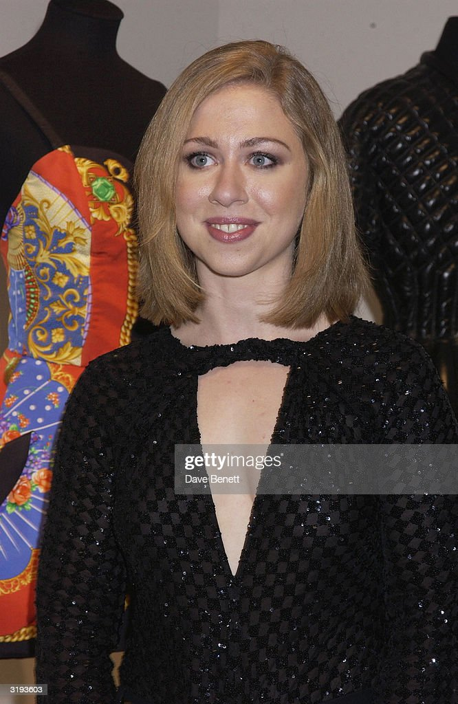 Chelsea Clinton attends the launch of the Versace Retrospective Exhibition held at The Victoria and Albert Museum on 14th October 2002, in London.
