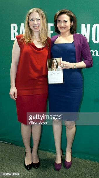 Chelsea Clinton daughter of former US President Bill Clinton and former Secretary of State Hillary Clinton and Facebook COO Sheryl Sandberg pose for...