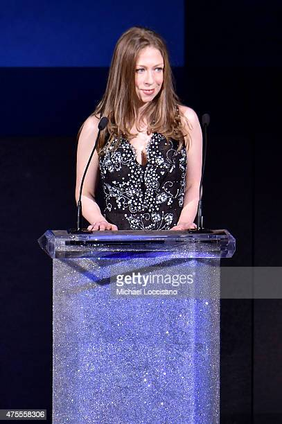 Chelsea Clinton remembers the late designer Oscar de la Renta onstage at the 2015 CFDA Fashion Awards at Alice Tully Hall at Lincoln Center on June 1...