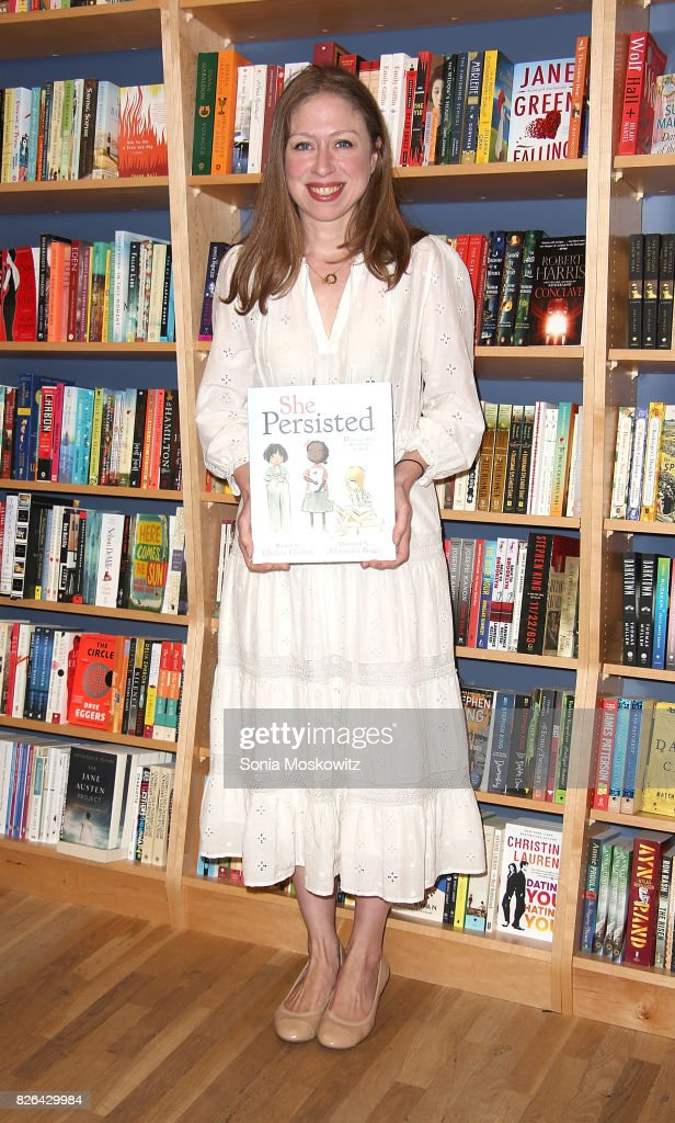 Chelsea Clinton signs copies of her book 'She Persisted' at BookHampton on August 4, 2017 in East Hampton, New York.