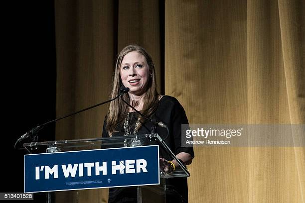 Chelsea Clinton speaks during a fundraiser for her mother Democratic presidential candidate Hillary Clinton at Radio City Music Hall on March 2 2016...