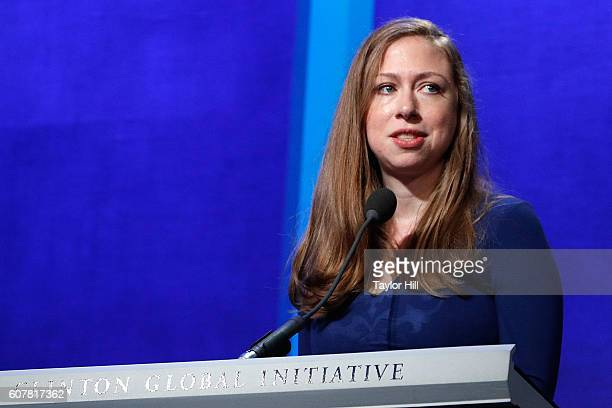 Chelsea Clinton speaks during the 2016 Clinton Global Initiative Annual Meeting at Sheraton New York Times Square on September 19 2016 in New York...