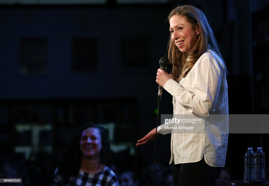 Chelsea Clinton speaks on stage before signing copies of her new book 'It's Your World' at Housing Works Bookstore on April 4, 2017 in New York City.