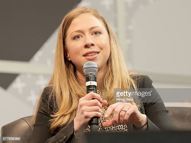 Chelsea Clinton speaks onstage at the Chelsea Clinton Keynote during the 2014 SXSW Music Film Interactive Festival at Austin Convention Center on...