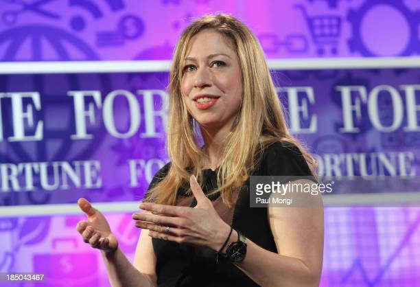 Chelsea Clinton speaks onstage at the FORTUNE Most Powerful Women Summit on October 17 2013 in Washington DC