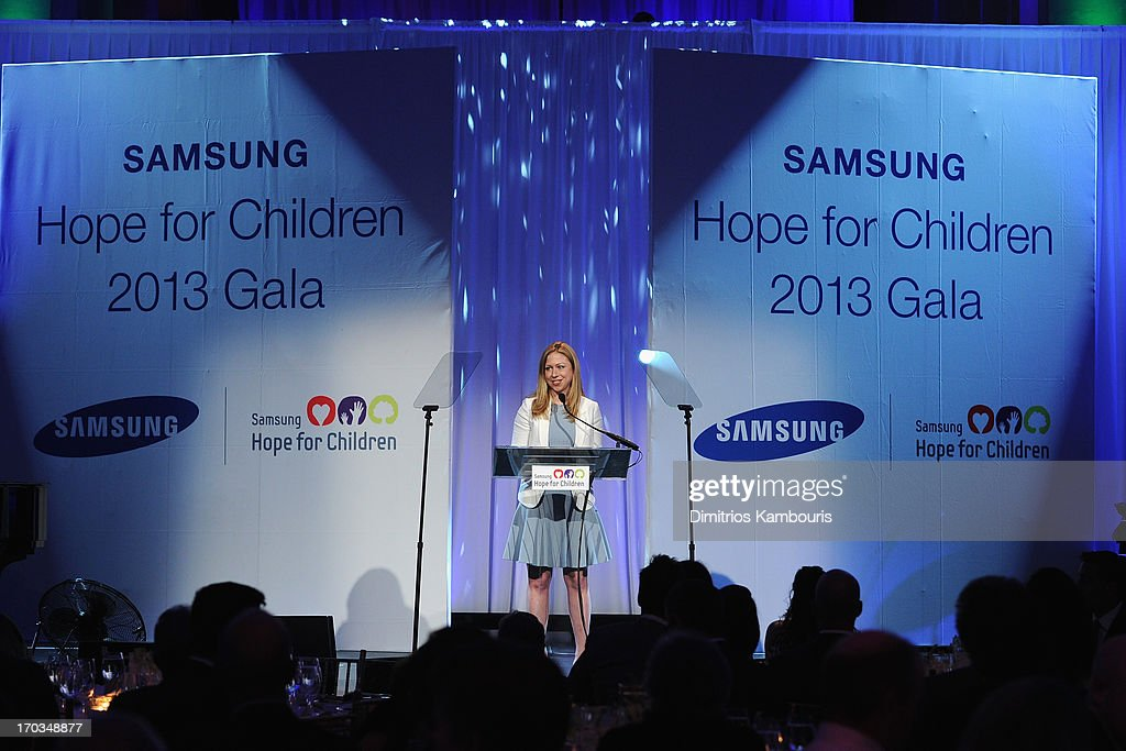 Chelsea Clinton speaks onstage at the Samsung's Annual Hope for Children Gala at Cipriani's in Wall Street on June 11, 2013 in New York City.