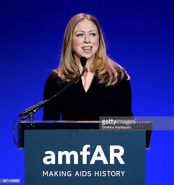 Chelsea Clinton speaks onstage during the 2014 amfAR New York Gala at Cipriani Wall Street on February 5 2014 in New York City