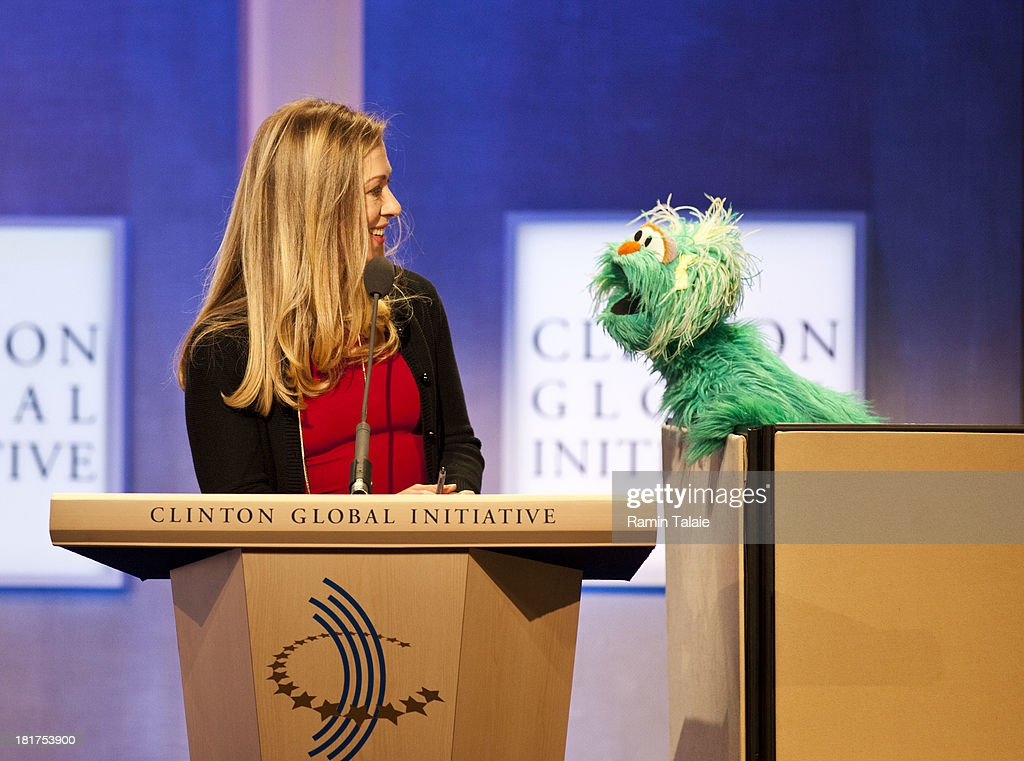 Chelsea Clinton speaks with Rosita the muppet from Sesame Street during the annual Clinton Global Initiative (CGI) meeting on September 24, 2013 in New York City. Timed to coincide with the United Nations General Assembly, CGI brings together heads of state, CEOs, philanthropists and others to help find solutions to the world's major problems.