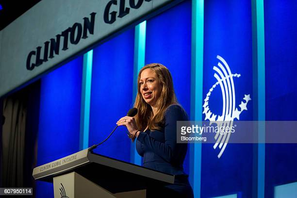 Chelsea Clinton vice chairman of the Clinton Foundation speaks during the annual meeting of the Clinton Global Initiative in New York US on Monday...