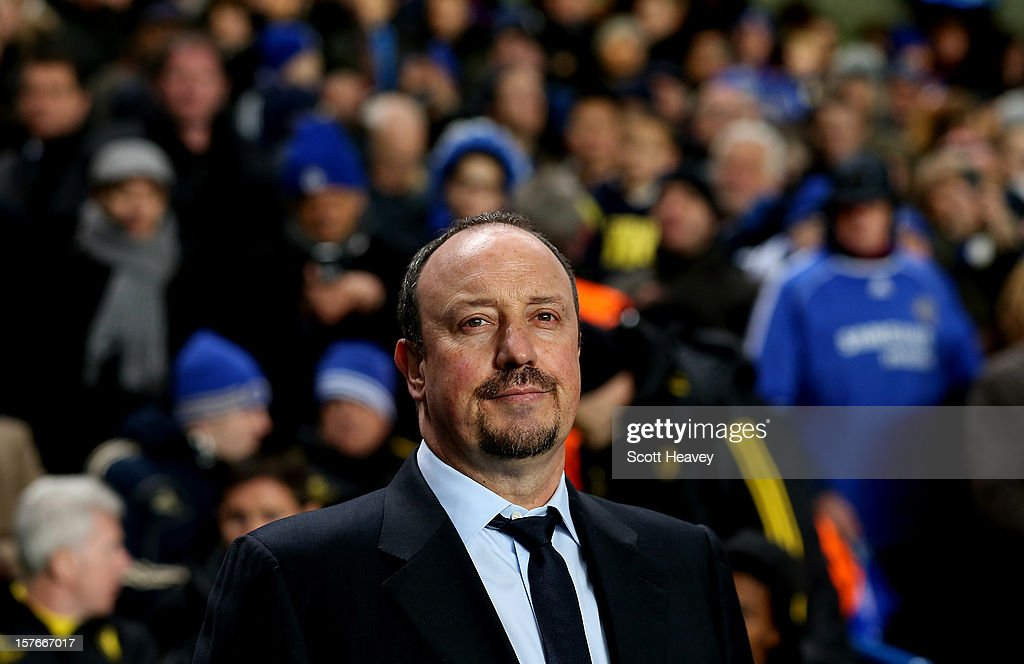 Chelsea coach Rafael Benitez during the UEFA Champions League Match between Chelsea and FC Nordsjaelland at Stamford Bridge on December 5, 2012 in London, England.