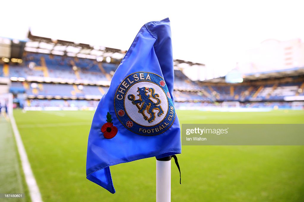 A Chelsea corner flag proudly displays a poppy prior to kickoff during the Barclays Premier League match between Chelsea and West Bromwich Albion at Stamford Bridge on November 9, 2013 in London, England.