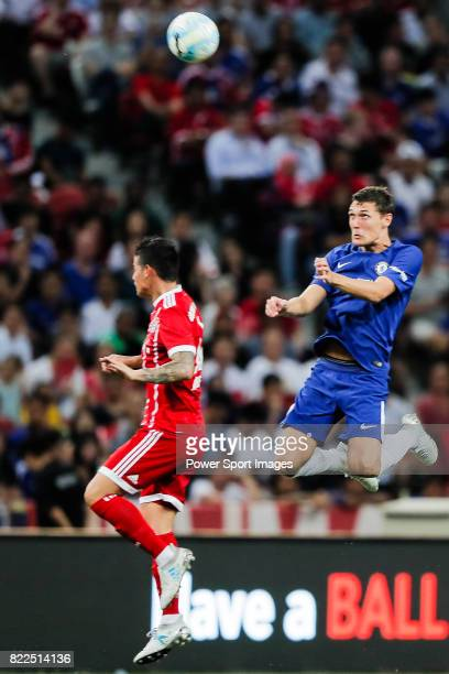 Chelsea Defender Andreas Christensen heads the ball during the International Champions Cup match between Chelsea FC and FC Bayern Munich at National...