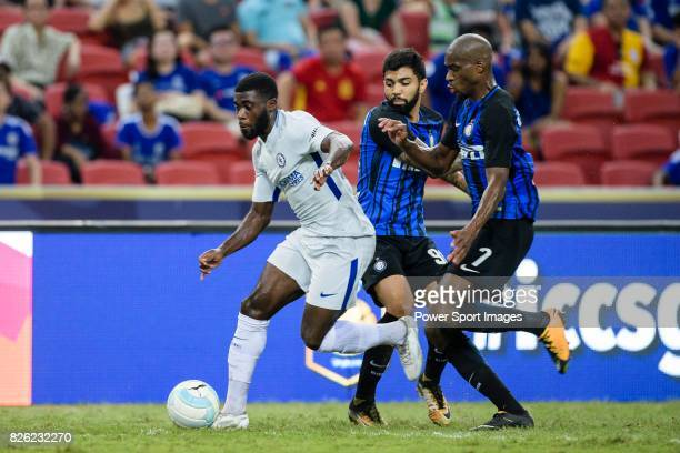 Chelsea Defender Antonio Rudiger fights for the ball with FC Internazionale players Geoffrey Kondogbia and Gabriel Barbosa during the International...
