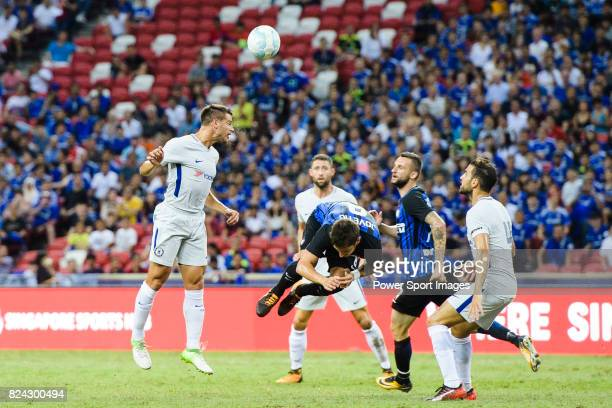 Chelsea Defender Cesar Azpilicueta fights for the ball with FC Internazionale Forward Stevan Jovetic during the International Champions Cup 2017...