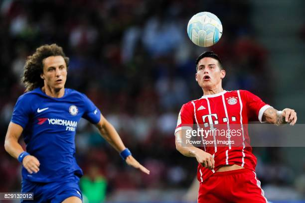 Chelsea Defender David Luiz L plays against Bayern Munich Midfielder James Rodríguez during the International Champions Cup match between Chelsea FC...