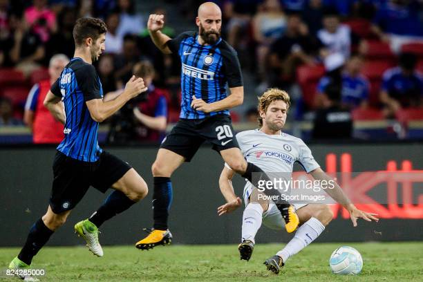 Chelsea Defender Marcos Alonso trips up with FC Internazionale Midfielder Borja Valero during the International Champions Cup 2017 match between FC...