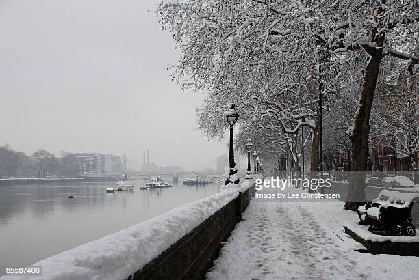 Chelsea Embankment in the Snow