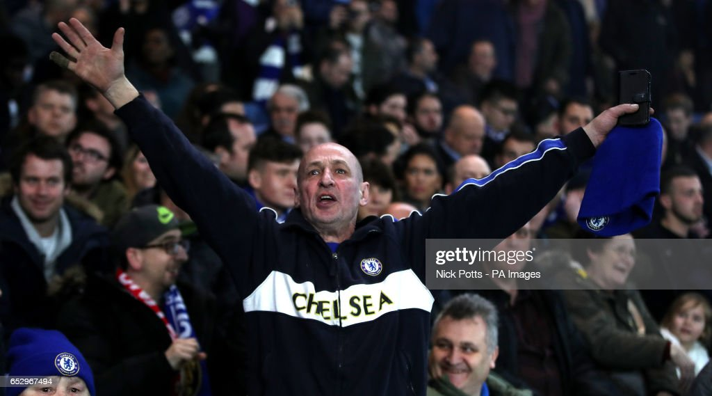A Chelsea fan during the Emirates FA Cup, Quarter Final match at Stamford Bridge, London.